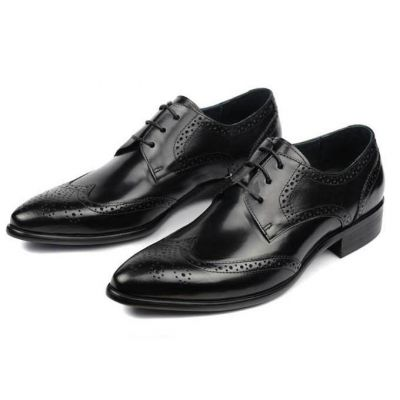 Business Shoes for Men Classic Perforations pattern - Black