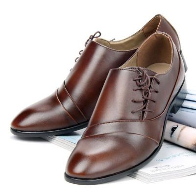 Dress shoes for Men with Side Lace Up - Brown PU Leather