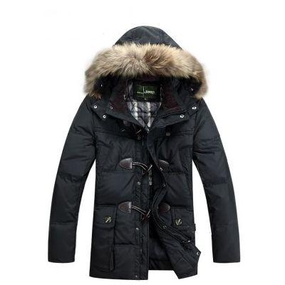 Padded Winter Parka for Men with Fur Lined Hood and Big Buttons