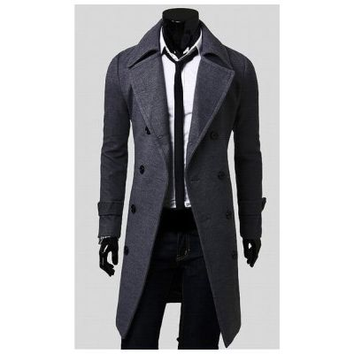 Long Winter Coat for Men with wide collar and button down closure