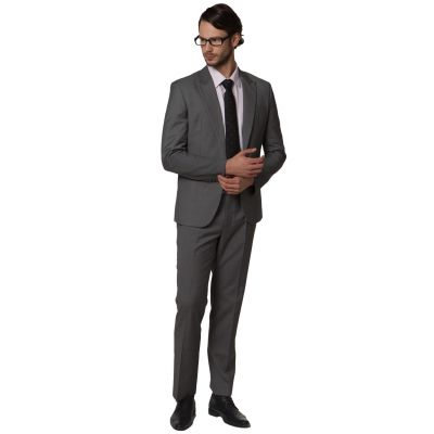 Men's business suit slim fit Jacket classic cut - black grey