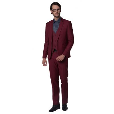 Fitted 3 piece Dress Suit for men Blazer Waistcoat Pants - Red