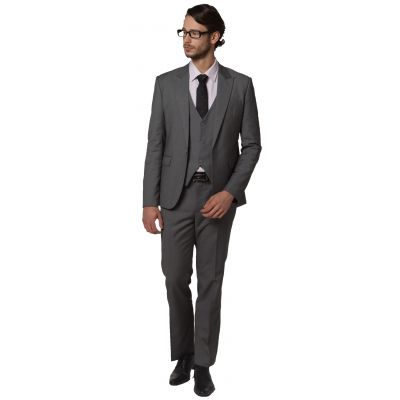 3 piece Dress Suit for men Blazer Waistcoat Pants Slim Fit - Grey
