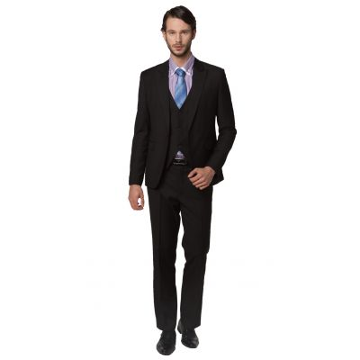 3 piece Dress Suit for men Blazer Waistcoat Pants Slim Fit - Black
