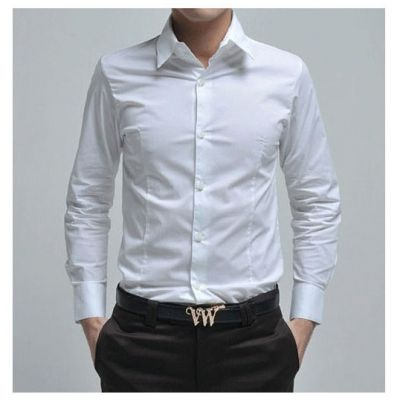 Men's Long Sleeve Dress Shirt simple white black 100% cotton