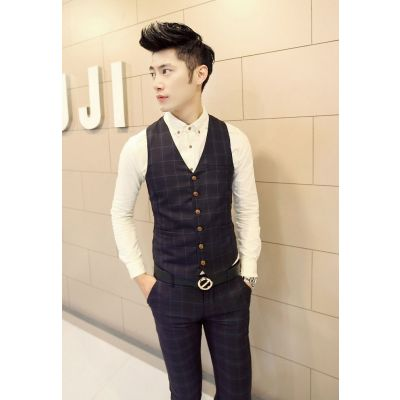 Plaid Pattern Waistcoat jacket for men for 3 piece suit