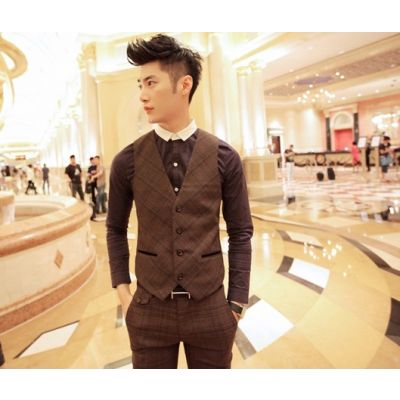 Brown Diagonal Plaid Waistcoat jacket for men
