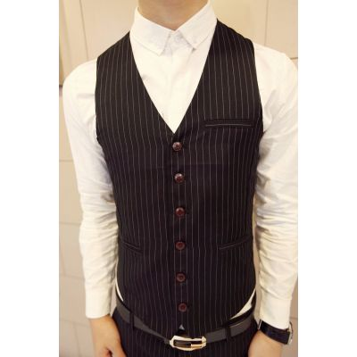 Pinstripe waistcoat vest for men with Thin Stripe Fabric