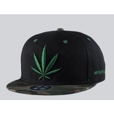 Weed Leaf Snapback Cap  Baseball with Camouflage brim