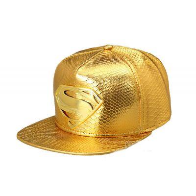 Gold Leather Superman Strapback Baseball Cap Faux Snakeskin