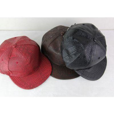Leather Snakeskin Strapback Baseball Cap for Men or Women