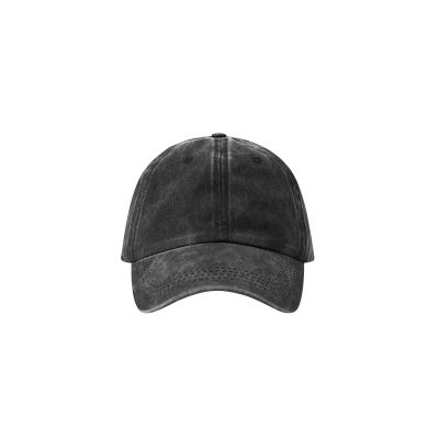 Black baseball cap aged denim jeans faded effect