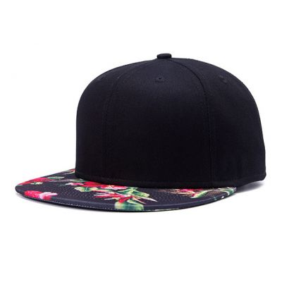 Black Snapback Cap with Flower Print Flat Brim Red Green