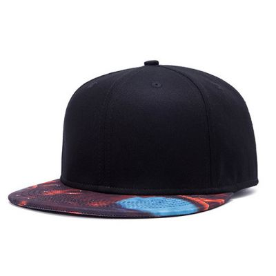 Plain Black Snapback Cap with Orange and Blue Flames Print Brim