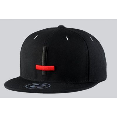 Inverted Crucifix Cross Snapback Baseball Cap Black and Red
