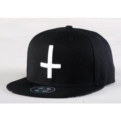 Snapback Baseball Cap Inverted Crucifix Design & Bandana Print on back