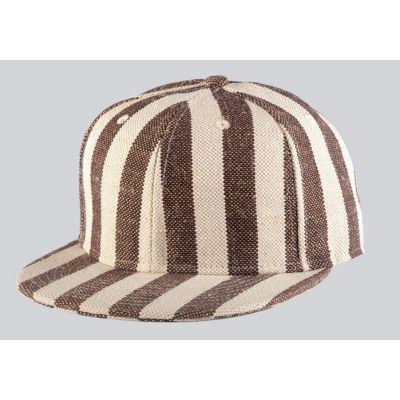 Jute Snapback Baseball Cap Hip Hop Hat with Brown and Beige Stripes