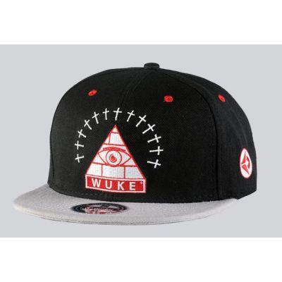 Snapback Baseball Cap with Illuminati Pyramid Design Wuke Black Grey