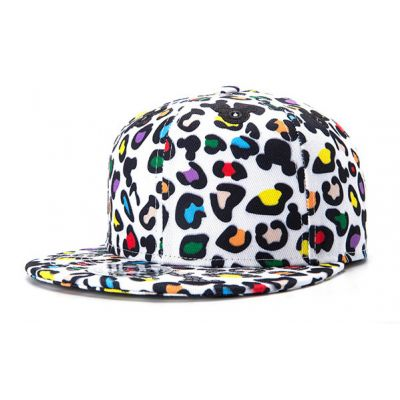 Leopard Print White Snapback Cap with Multicolor Dots