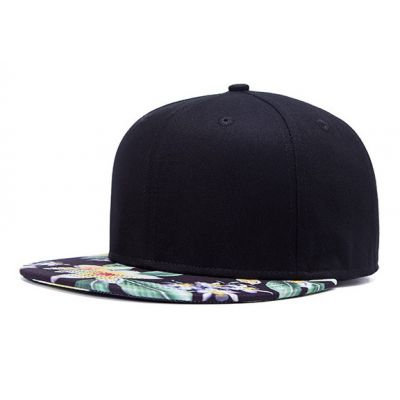 Plain Black Snapback Cap with White Green Tropical Flower Brim