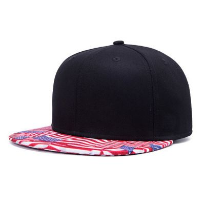 Black Snapback Cap with USA Flags Stars and Stripes Flat Brim