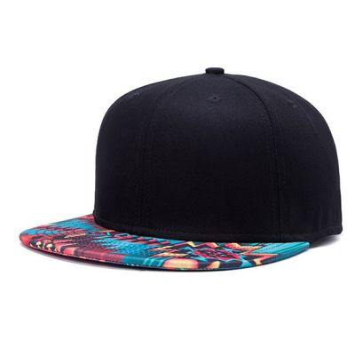 Snapback Baseball Cap with Red Blue Yellow Tribal Print Brim