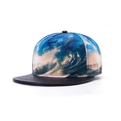 Surf Waves Snapback Baseball Cap Sublimation Print Leather Brim