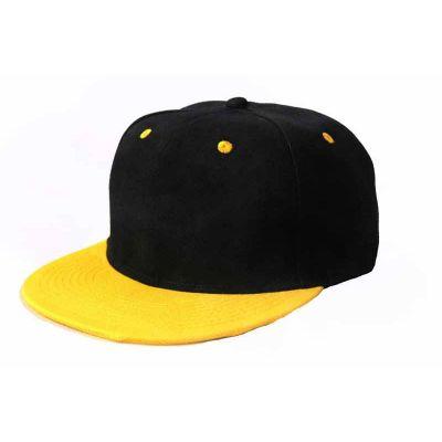 Plain Snapback Baseball Cap Bicolor Black Brim - Orange Blue Yellow