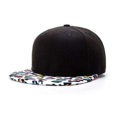 Black Snapback Cap with Multicolor White Leopard Print Brim