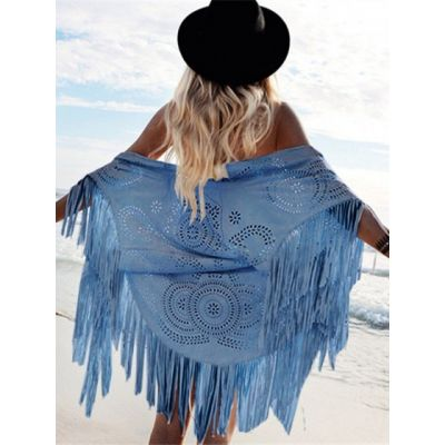 Women's fringed faux suede shawl