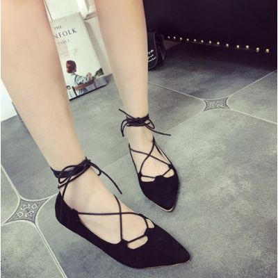 Women's Pointed Flat Shoes with Ankle Lacing