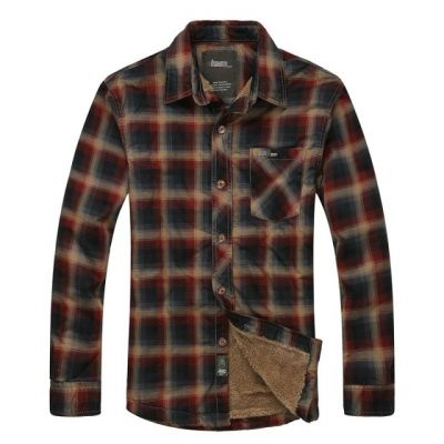 Faux Fur Lined Winter Shirt for Men Plaid Checkers Design