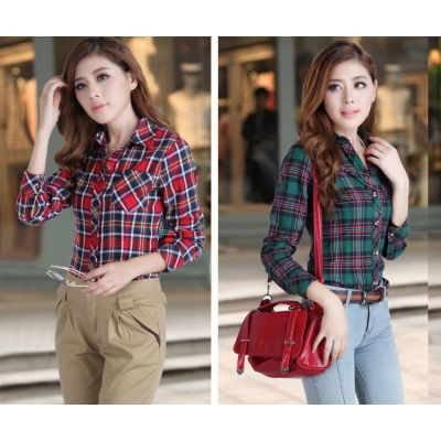 Flannel Cotton Shirt for Women Long Sleeves Plaid Checkered Print