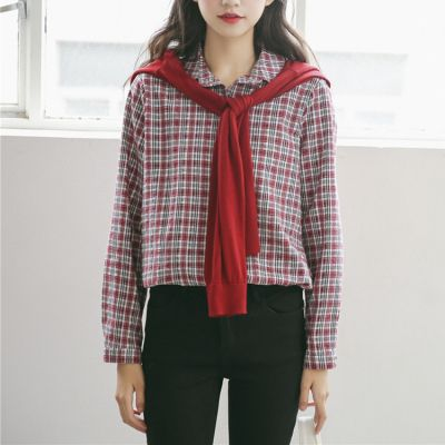 Red and Grey Checkered Long Sleeve Shirt for Women