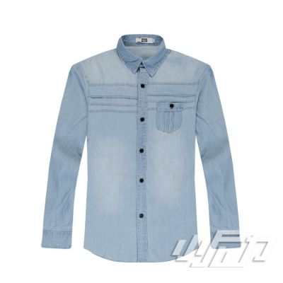 Chambray Denim shirt for Men with Chest Pocket - Long Sleeves