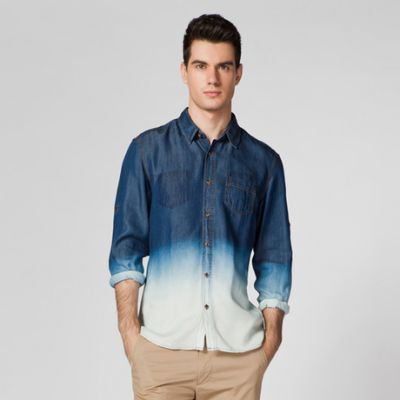 Denim Jeans Shirt for Men Dip and Dye Bicolor Design - Long Sleeves