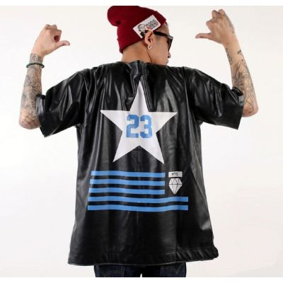 Leather Short Sleeve Baseball Shirt Hip Hop #23 Star