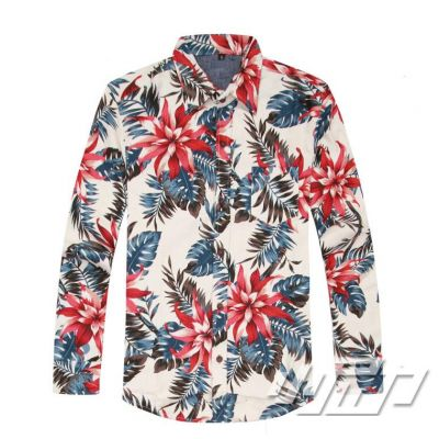 Men's Linen Flower Print Shirt Hawaii with Long Sleeves - Beige