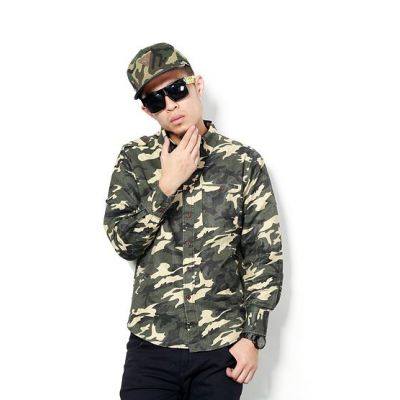 Camo Long Sleeve Denim Shirt for Men Army Camouflage Print
