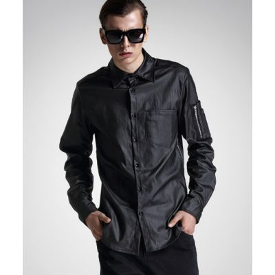Black Long Sleeve Shirt for Men with Sleeve Zipper and Pocket