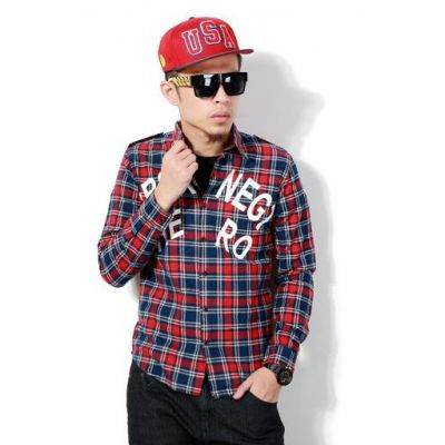 Plaid Print Checkered Shirt for Men Long Sleeves with Letter Print