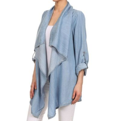 Poncho style denim shirt for women with long sleeves