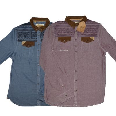 Rock & Revival Chambray Shirt for Men with Ethnic Pattern