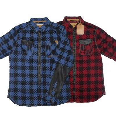 Rock & Revival Checkered shirt for Men with Leather patches