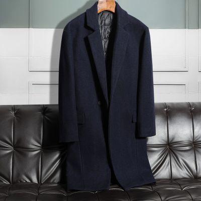 Classic longline wool winter coat for men