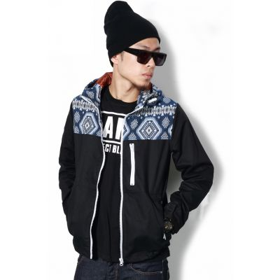 Men's Windbreaker Coat with Hood Camouflage or Mosaic Top Print