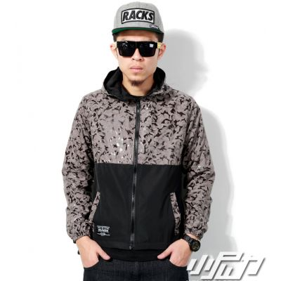Windsheeter Jacket for Men with Hood Half Camouflage Print - Grey Blue
