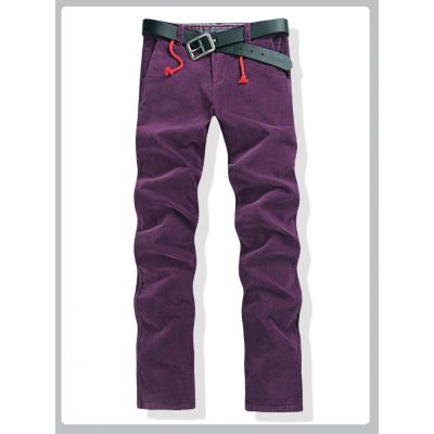 Men's jeans with fleece lining inside for winter season - Purple