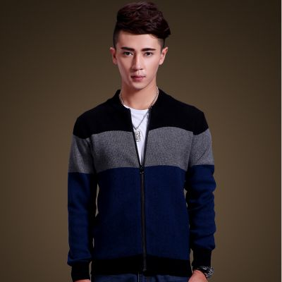 Woolen zip up cardigan for men with tricolor stripe pattern