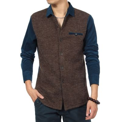 Bicolor Shirt for men with wool body and velvet sleeves
